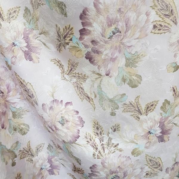 Ткань портьерная Жаккард Цветы, светло-сиреневый