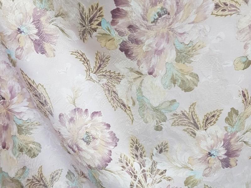 Ткань портьерная Жаккард с рисунком Цветы, цвет светло-сиреневый