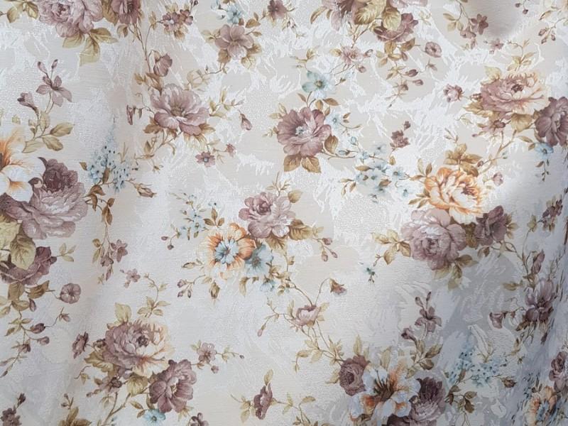Сатин печать с рисунком Цветы, ширина 150 см