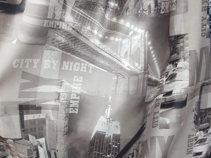 Портьера серого цвета с рисунком Город