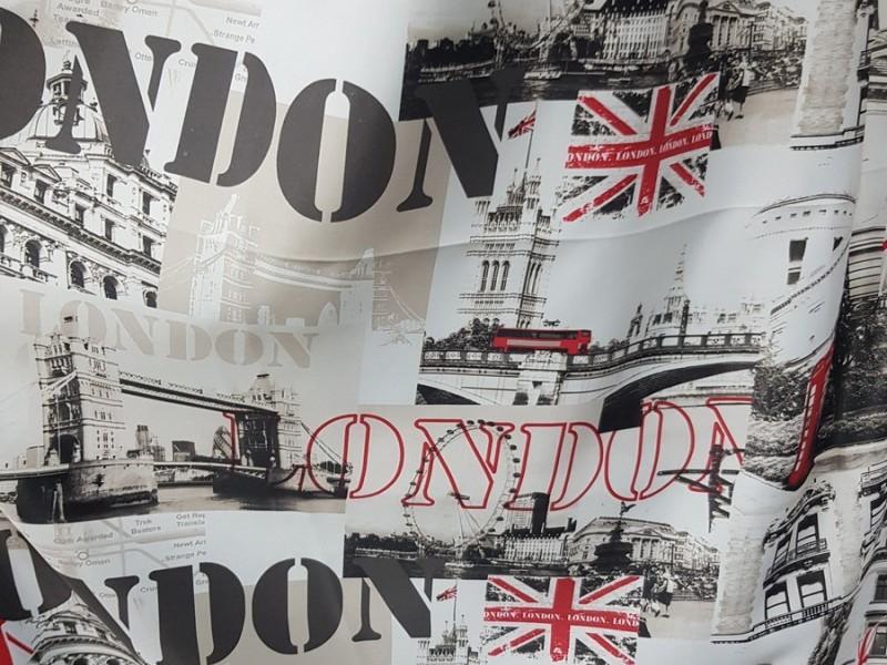 Блэкаут с рисунком Лондон, цвет серый