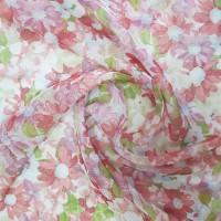 Лен тюль с рисунком цветы, красный