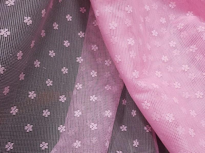 Ткань сетка с цветами, цвет розовый, остаток 4.0 метра