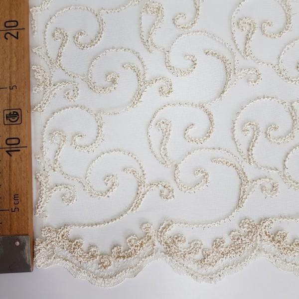 Сетка вышивка кремовая, О.Б., остаток 4.1;1.6; 2.2 м.