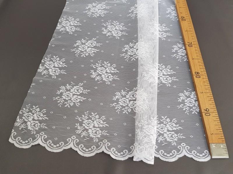 Тюль сетка с рисунком Букет роз, цвет белый, остаток 5.0 метров