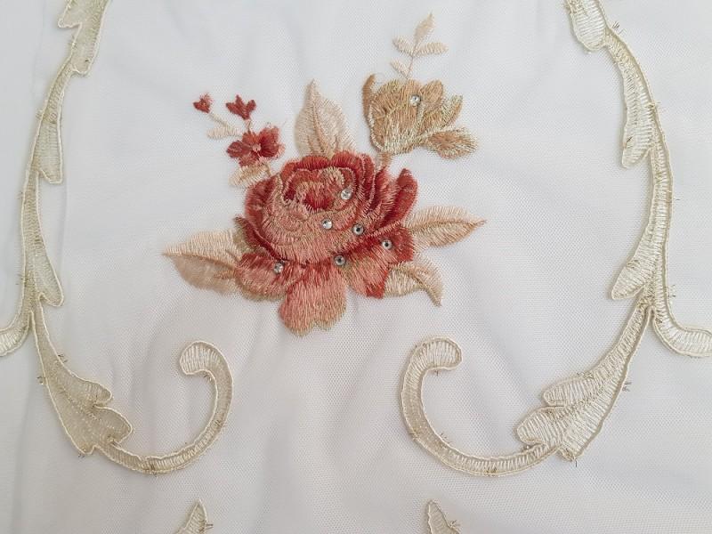 Сетка вышивка соты Красные розы