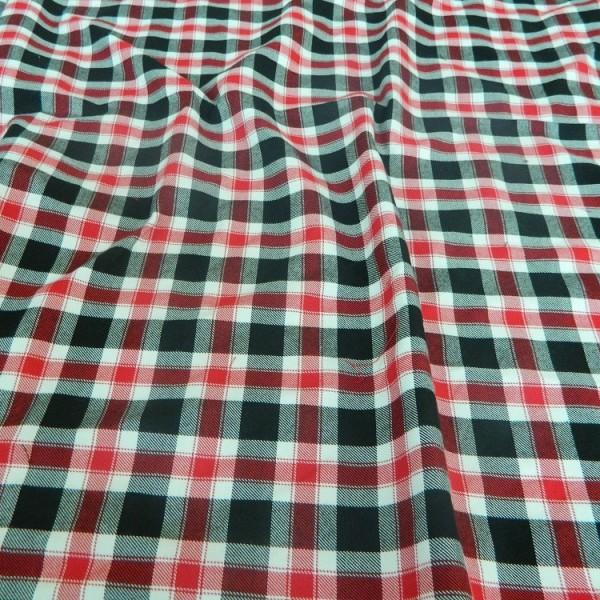 Ткань Клетка (Англия), красный, черный, ширина 1.6 м.