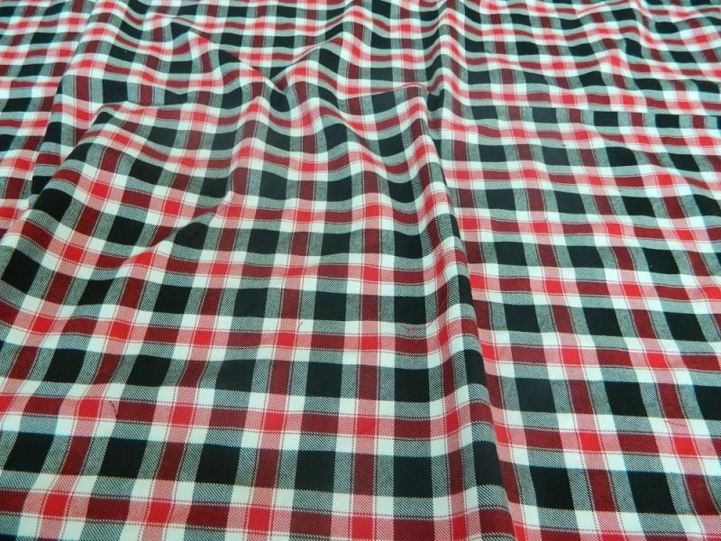 Ткань Клетка (Англия), цвет красный, черный, ширина 1.6 м.