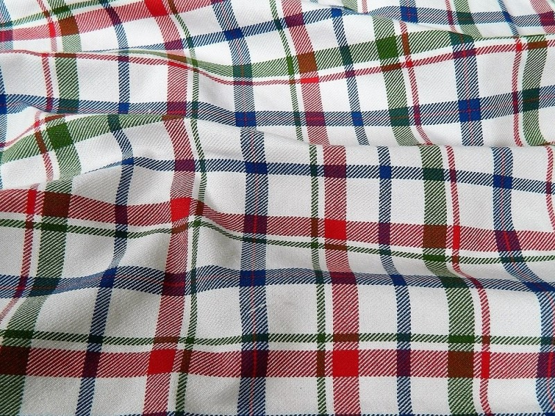 Ткань Клетка (Англия), цвет красный, синий, ширина 1.6 м.