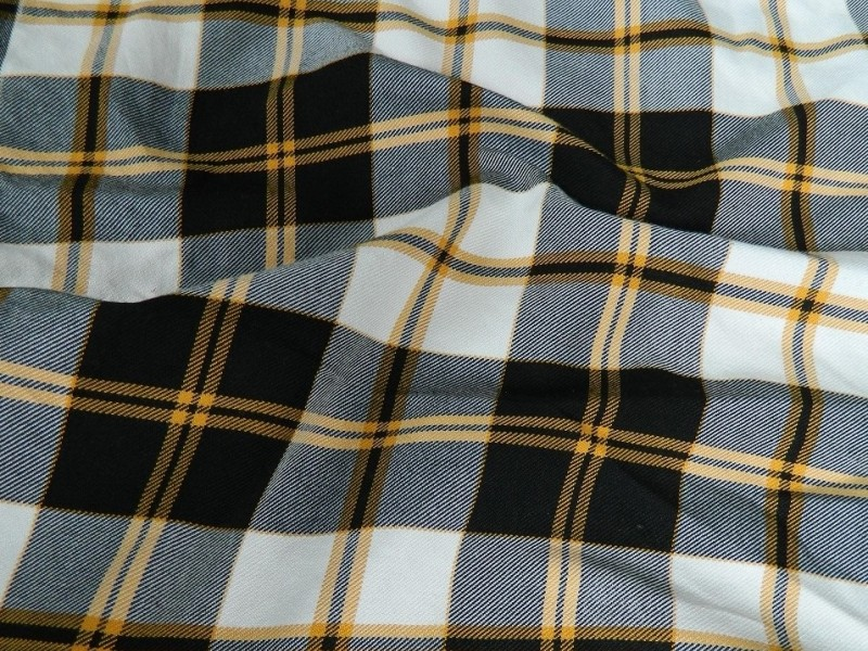 Ткань Клетка (Англия), цвет серый, горчичный, ширина 1.6 м.