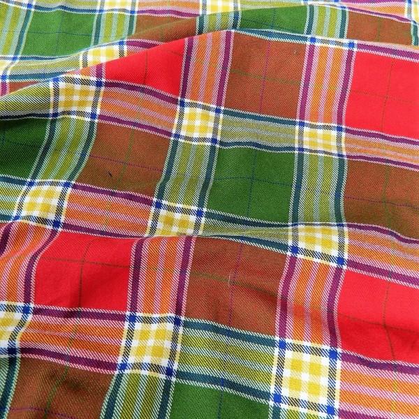 Ткань Клетка (Англия), красный, зеленый, ширина 1.6 м.