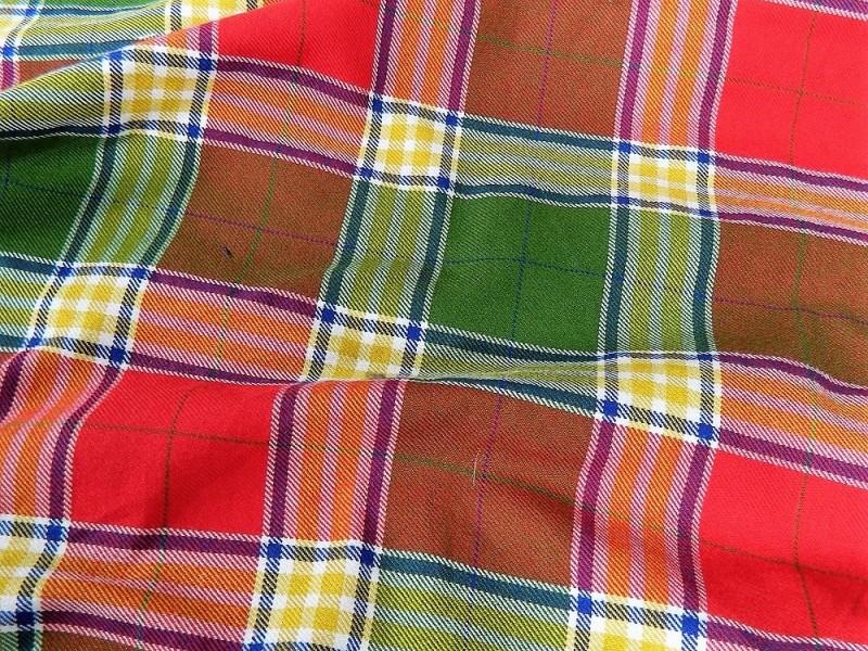 Ткань Клетка (Англия), цвет красный, зеленый, ширина 1.6 м.