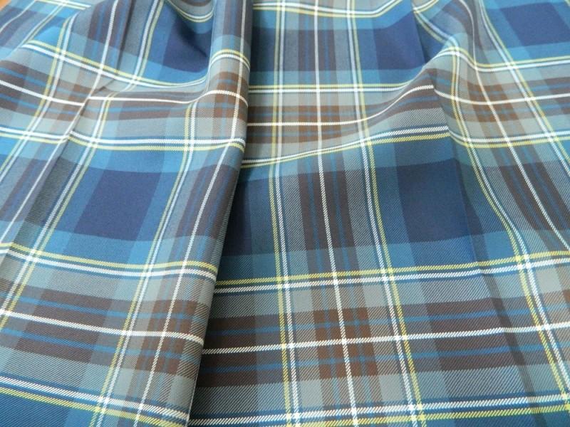 Ткань Клетка (Англия), цвет синий, ширина 1.6 м.