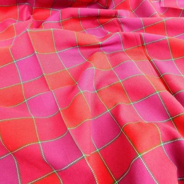 Ткань Клетка (Англия), красный, розовый, ширина 1.6 м.