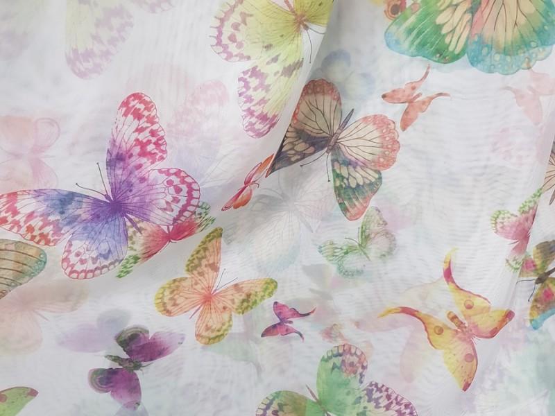 Ткань вуаль с рисунком Бабочки
