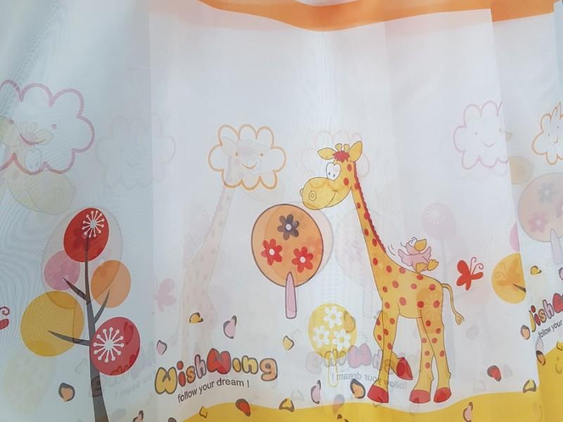 Ткань вуаль печать для детской комнаты, Жираф, h 300 см
